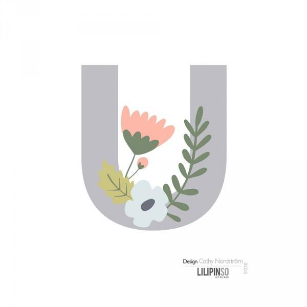 Lilipinso Sticker Buchstabe mit Blüten grau rosa pastell U