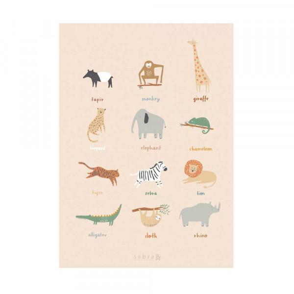 Sebra Kinder Poster Wildlife Safaritiere 50 x 70