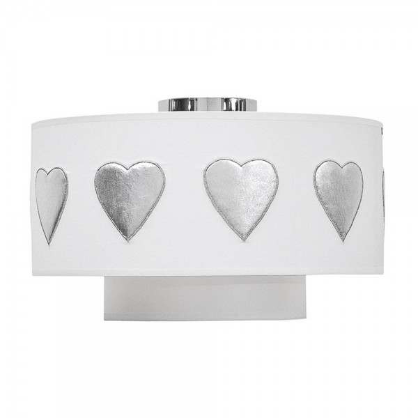 Taftan Deckenlampe Doppelschirm SIlber Herzen weiss