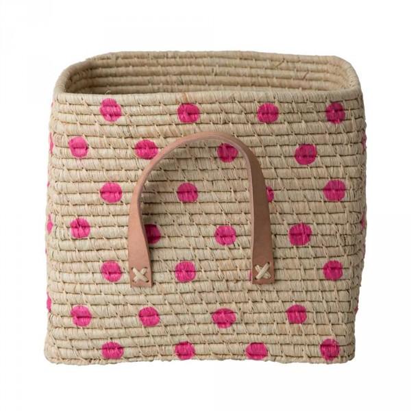 Rice Bastkorb Ledergriffe natur mit Tupfen pink 30 x 30