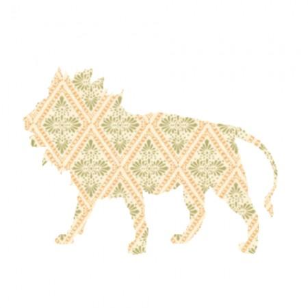 Inke Tapetentier Löwe Raute beige