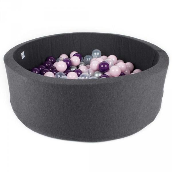Minibe Bällebad dunkelgrau incl. 200 Bällen in Wunschfarbe