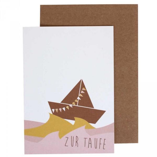 Ava & Yves Glückwunsch Karte zur Taufe Schiffchen rosa