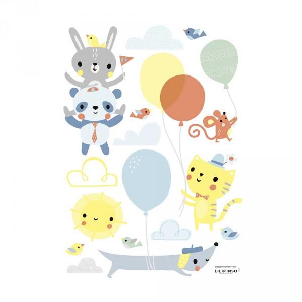 Lilipinso Wandsticker A3 Fröhliche Tiere mit Ballons mehrfarbig