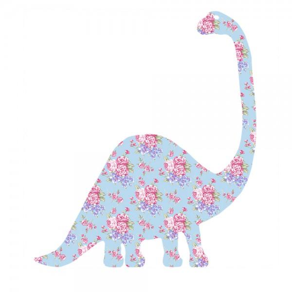 Inke Tapetentier Brontosaurus Rosen hellblau pink