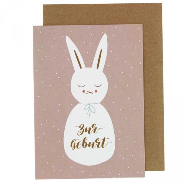 Ava & Yves Glückwunsch Karte zur Geburt Hase