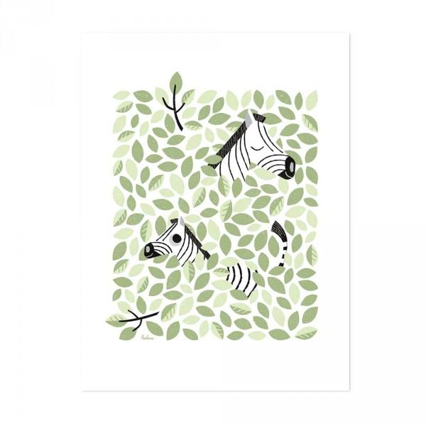 Lilipinso Poster Hide & Seek Zebras im Blättergetümmel grün