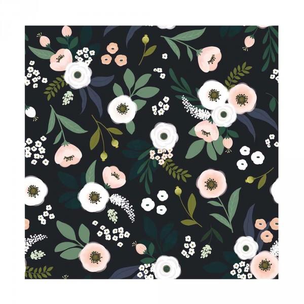 Lilipinso Vlies Tapete Blumen dunkel rosa grün schwarz