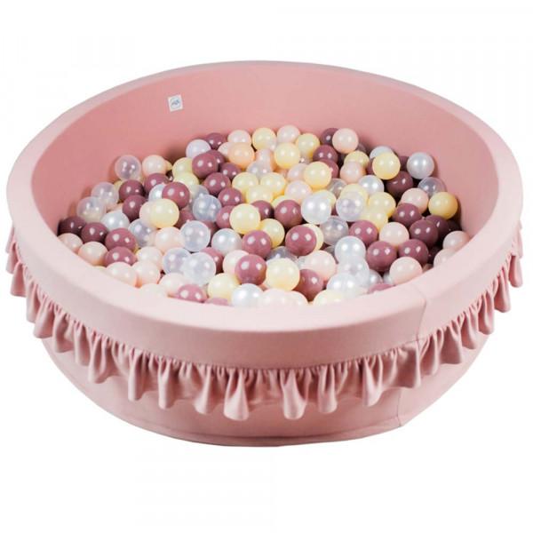 Minibe Bällebad rosa Rüschen groß incl. 300 Bällen in Wunschfarbe