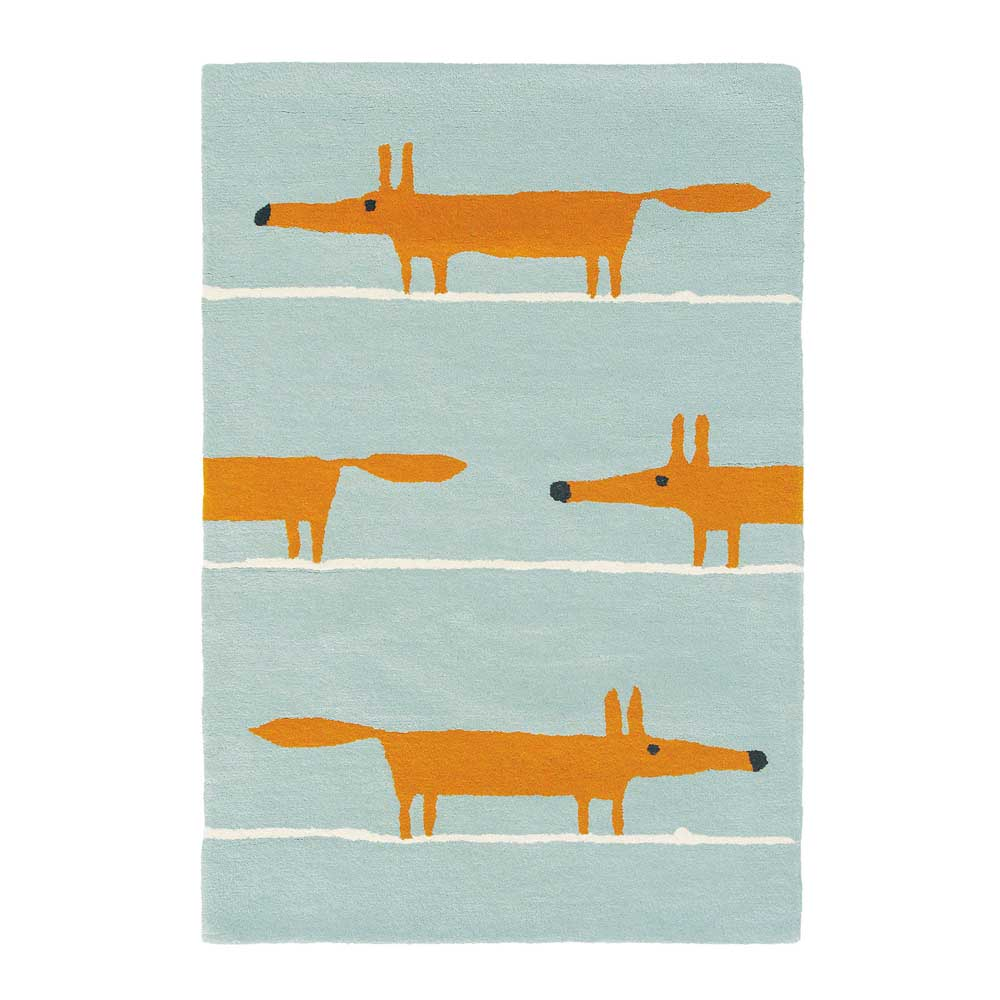 Scion Teppich Wolle Mr Fox Aqua Bei Kinder Raume