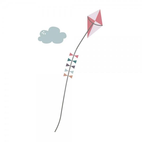 Sebra Wandsticker Messlatte Papierdrache rosa