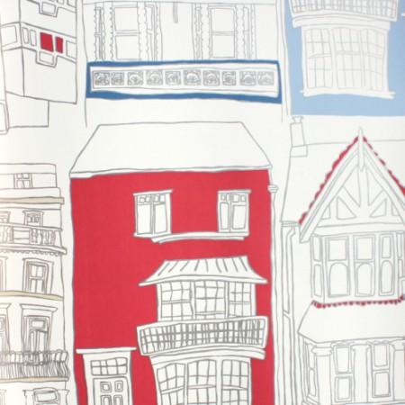 Harlequin Tapete Häuser rot