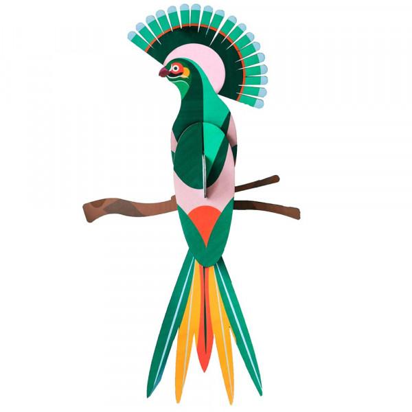 studio ROOF 3D Paradiesvogel grün gelb Pappe