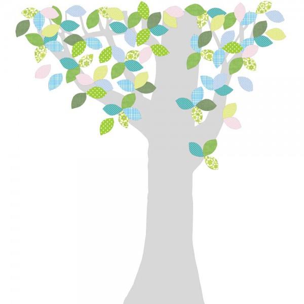 Inke Tapetenbaum 1 Stamm silber Blätter grün blau rosa