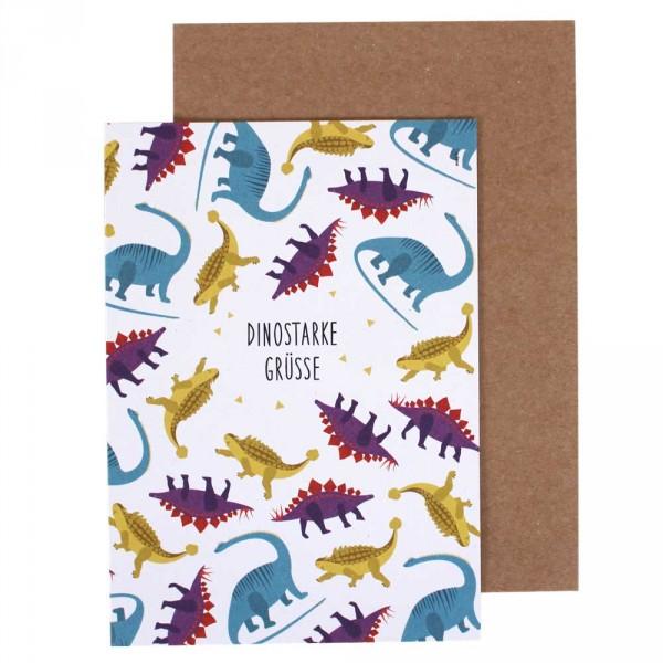 Ava & Yves Glückwunsch Klappkarte Dinosaurier