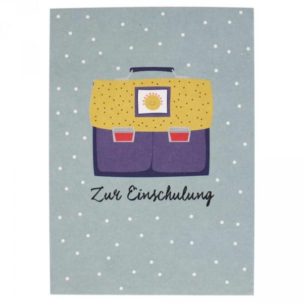 Ava & Yves Postkarte Einschulung Ranzen lila gelb