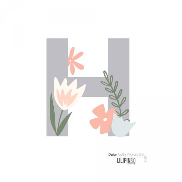 Lilipinso Sticker Buchstabe mit Blüten grau rosa pastell H