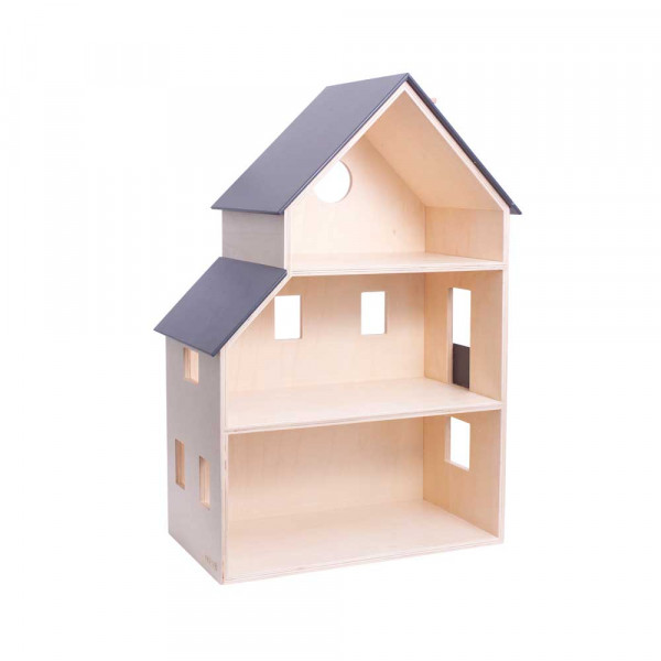 Sebra Puppenhaus Holz natur mit grau
