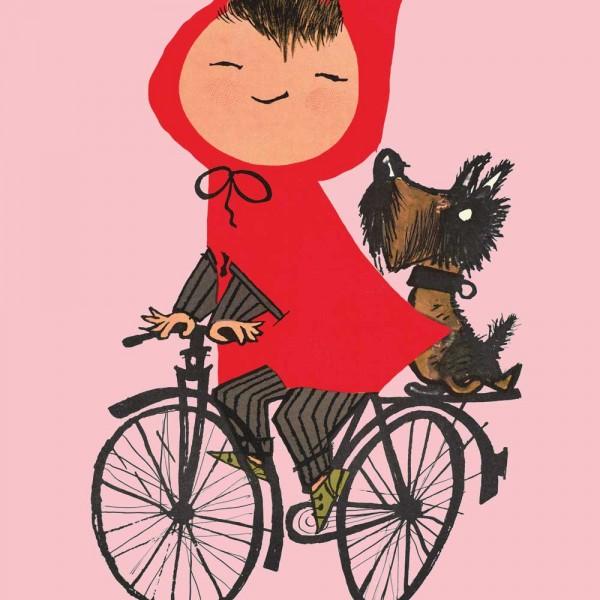 Kek Amsterdam Kinderposter Rotkäppchen auf Fahrrad rosa
