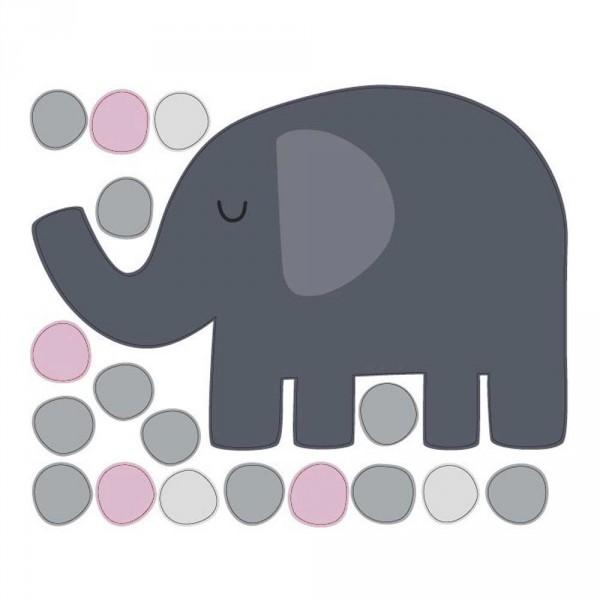 tresxics Wandsticker Elefant & Punkte pink