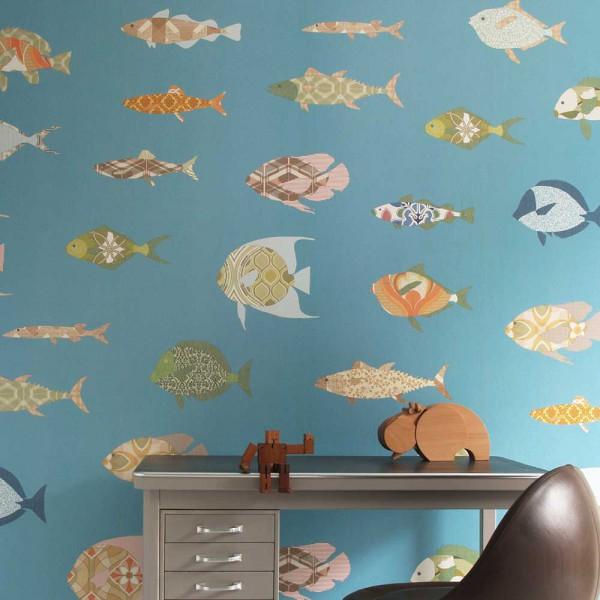 Inke Wandbild Fische blau
