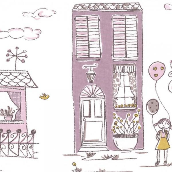 Casadeco Stoff Häuser flieder lime Jules & Julie