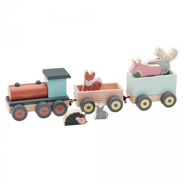 Kids Concept Spielzeug Zug Holz mit Waldtieren