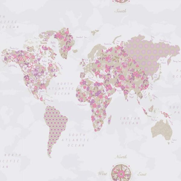 Caselio Pretty Lili Tapete Weltkarte pink flieder