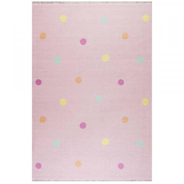 Livone Kinderteppich waschbar rosa Punkte bunt