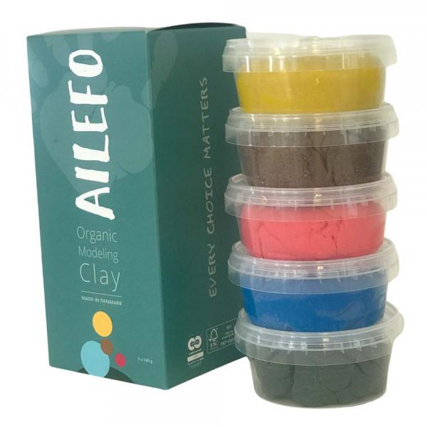 Ailefo Bio Kinderknete 5 er Set Basic Farben groß