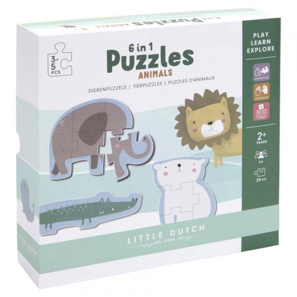 Little Dutch 6-in-1 Kinderpuzzle Zoo Tiere