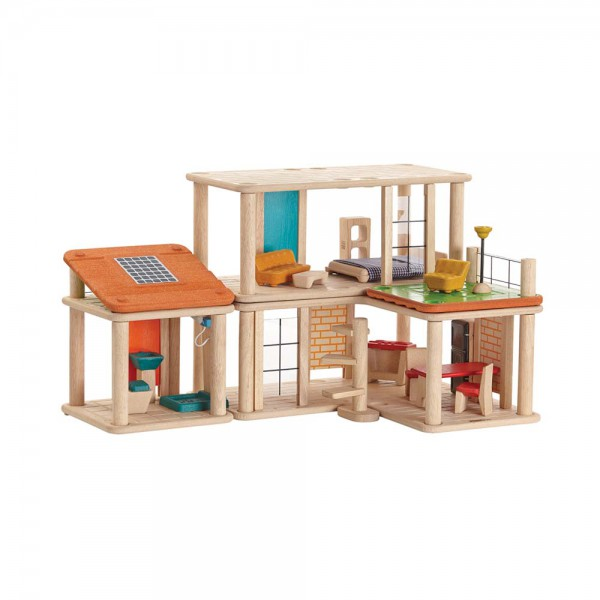 Plan Toys Puppenhaus variabel Holz natur inkl. Möblierung