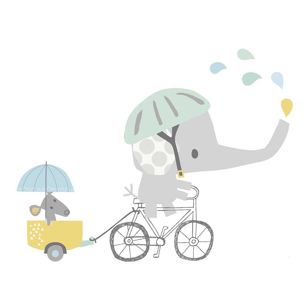 Lilipinso Wandsticker Xl Elefant Mit Fahrrad Bei Kinder Raume