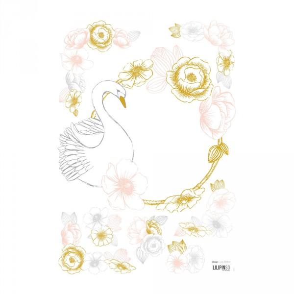 Lilipinso Wandsticker A3 Schwan und Blüten rosa grau ocker