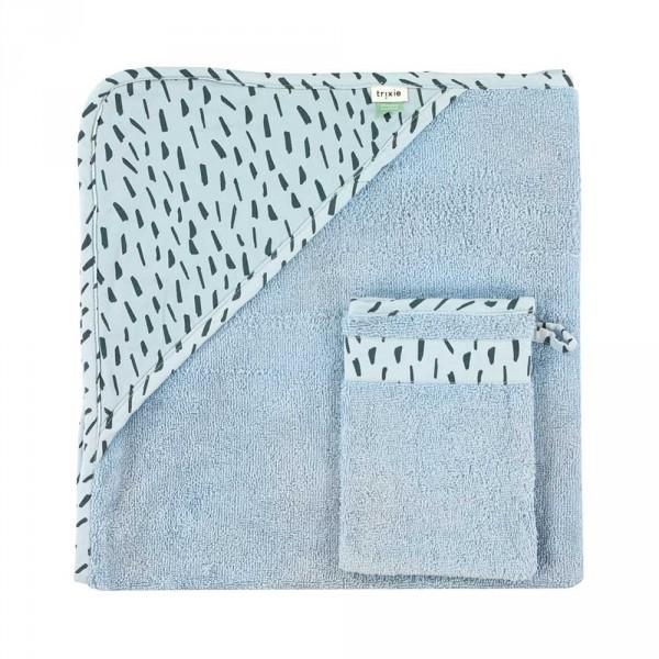 """Trixie Baby Kapuzenhandtuch mit Waschhandschuh """"Blue Meadow"""" blau"""