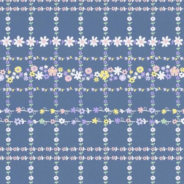 Rice Tapete Blütenkaro blau