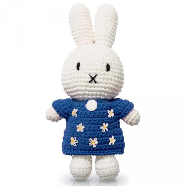 Just Dutch Miffy Häkelpuppe Hase Blümchen Kleid blau