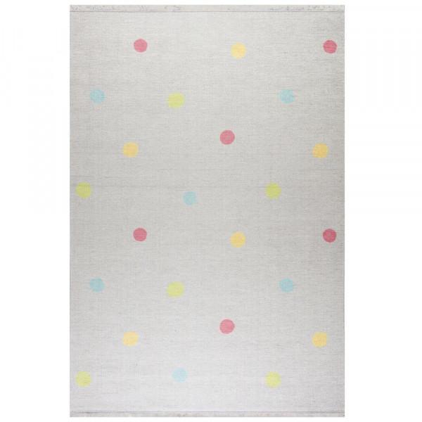 Livone Kinderteppich waschbar silber grau Punkte bunt