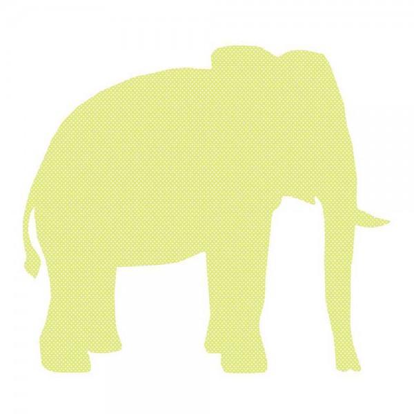 Inke Tapetentier Elefant grün Punkte weiss