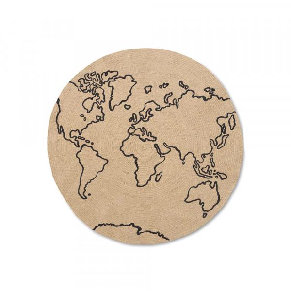 Ferm Living Juteteppich Weltkarte rund natur mit schwarz 100 cm