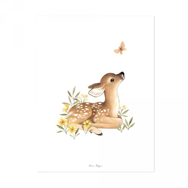 Lilipinso Poster Rehkitz mit Schmetterling braun