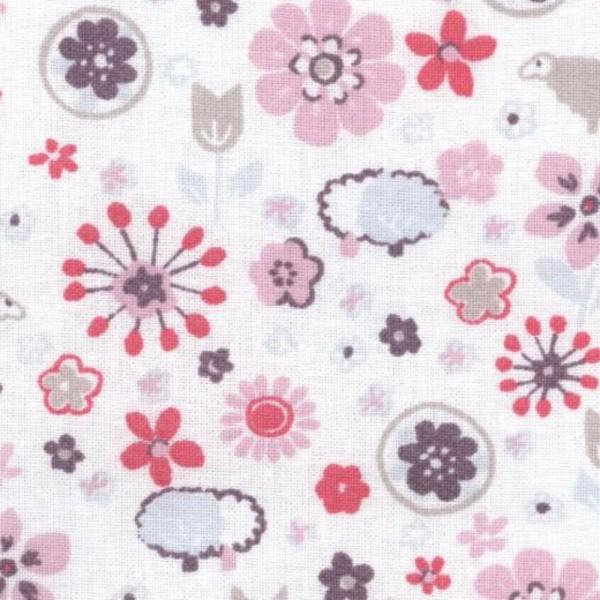 Casadeco Stoff Schäfchenwiese rosa pink Jules & Julie