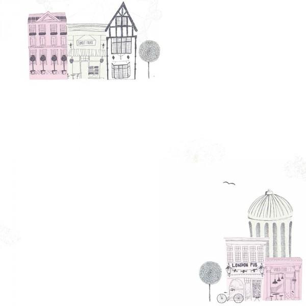 Casadeco Alice & Paul Tapete Häuser pink grau rosa