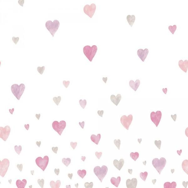 Casadeco Alice & Paul Panoramatapete Herzen grau rosa pink