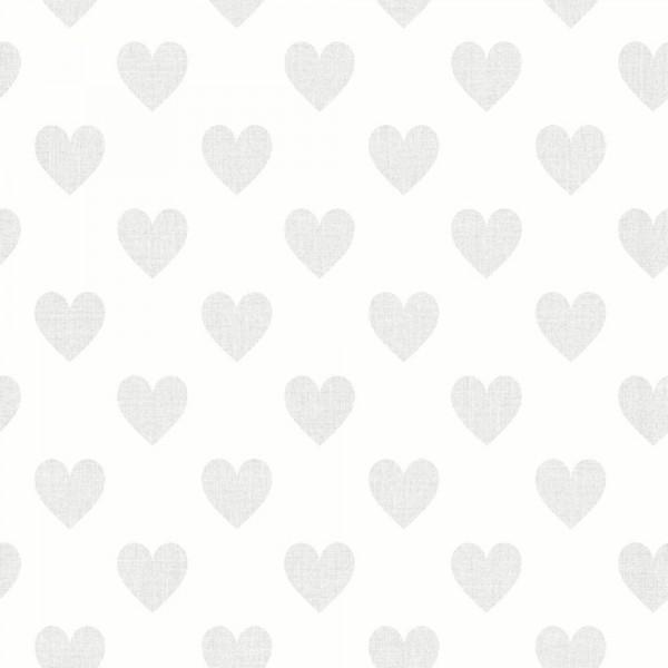 Boras Tapeter Kindertapete Herzen grau