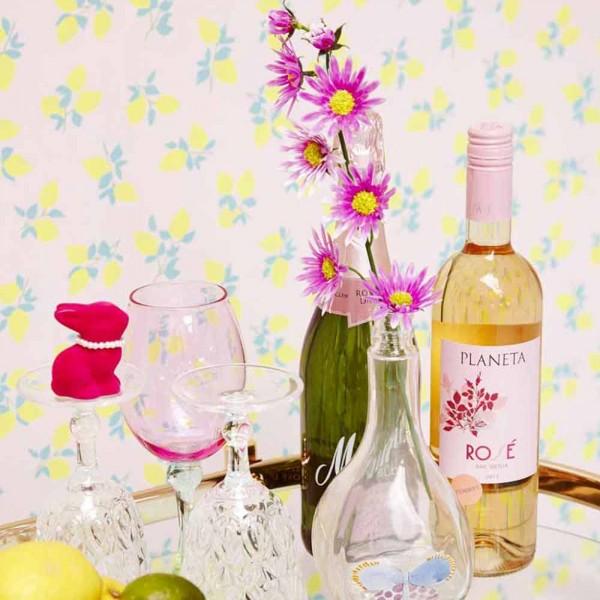Rice Tapete Zitronen rosa