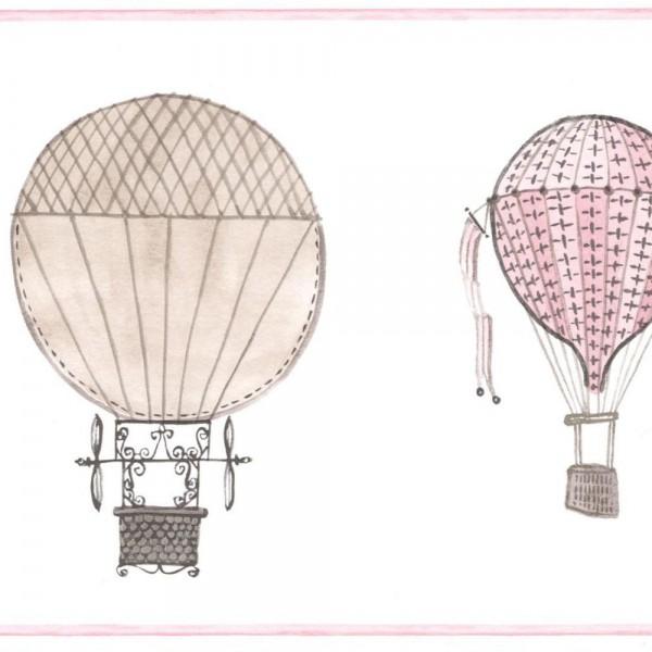 Casadeco Bordüre Ballons grau rosa Jules & Julie
