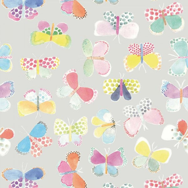 Rice Wandbild Butterflies grau