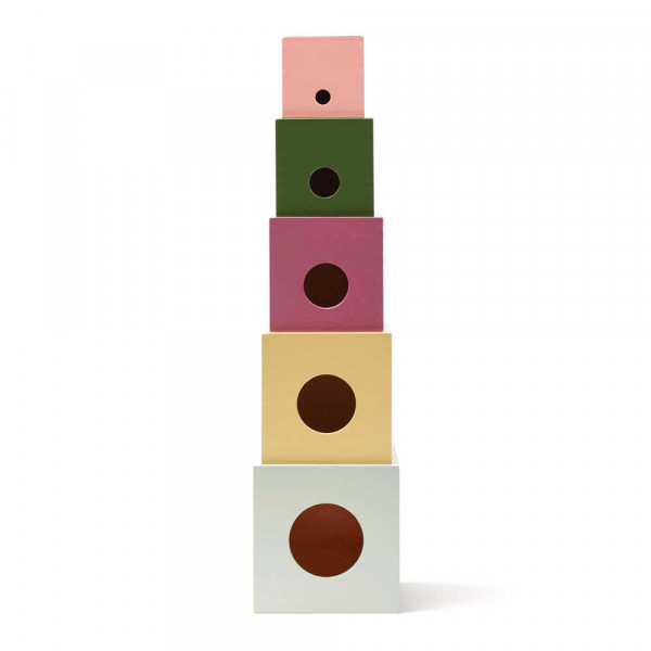 Kids Concept Stapelwürfel Holz senfgelb mint