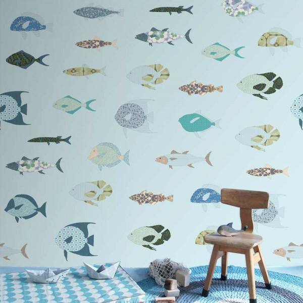 Inke Wandbild Fische hellblau